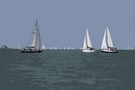 cruising: yacht sailboats sailing on a calm sunny day on the solent