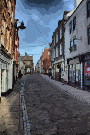 whitby: A cobbled street in the old fishing town of Whitby Illustration