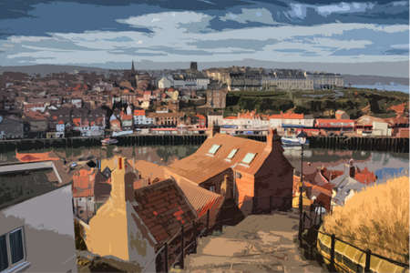 quay: Whitby West Cliff viewed from East Cliff