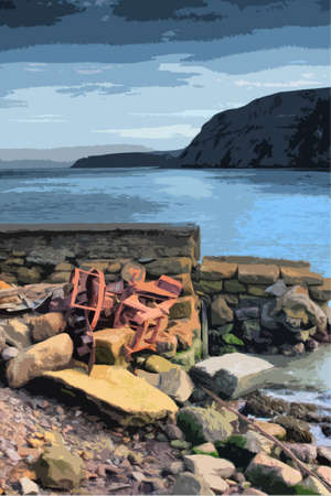 port: port mulgrave north yorkshire, UK Illustration