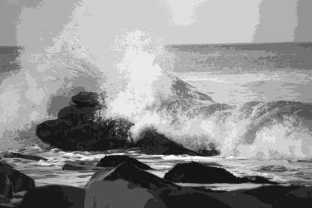 waves crashing over rocks on the sea shore in black and white Illustration