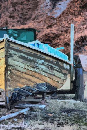 clinker: Un vecchio clinker costruito in legno peschereccio di lavoro su un rimorchio