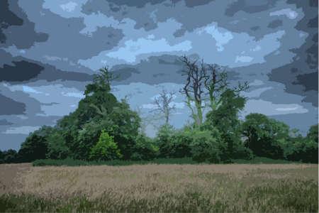 grey sky: dead trees in silhouette against a grey sky