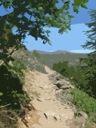 岩には、パスまたは山の中腹に道が覆われています。