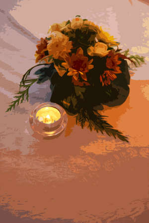 table decoration: small table decoration of yellow and white flowers