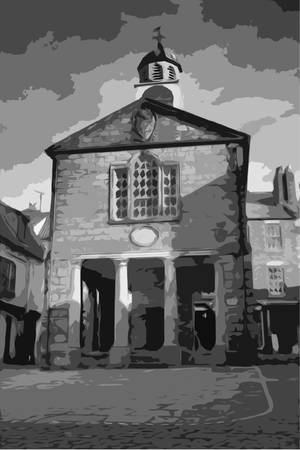 quay: whitby market hall building in the market square