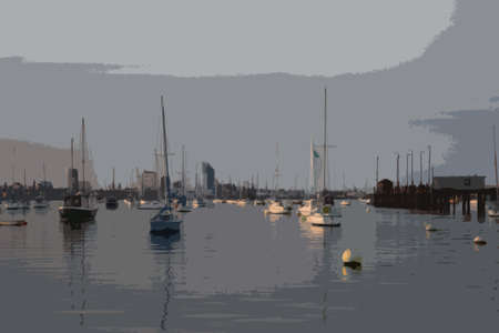 overlooking: The tall white spinnaker tower overlooking portsmouth harbour in the solent Illustration