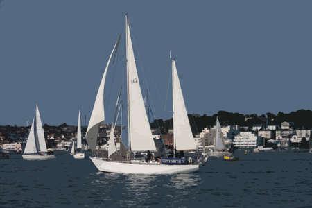 iv: Gipsy Moth IV sailboat sailing on the solent Illustration