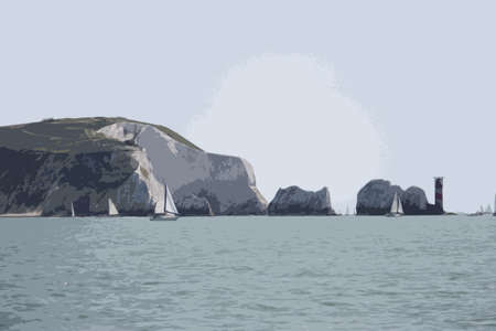 erosion: The red and white striped lighthouse at the needles in the solent