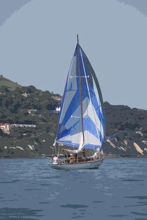 cruising: barche a vela yacht a vela su una tranquilla giornata di sole sulla Solent Vettoriali