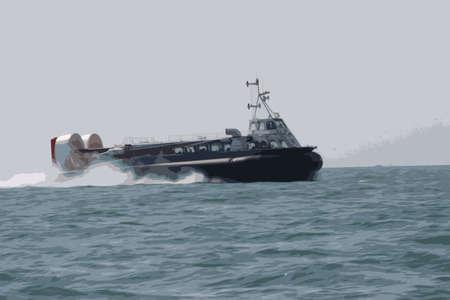 passenger hovercraft speeding across the sea