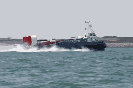 speeding: passenger hovercraft speeding across the sea