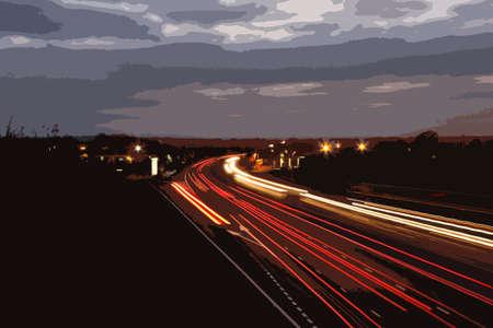 hosszú expozíció: autó könnyű pályák egy forgalmas autópálya alkonyatkor