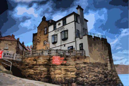 sea shore: the hotel at the sea shore in robin hoods bay uk