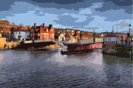 quay: whitby swing bridge in open position Illustration