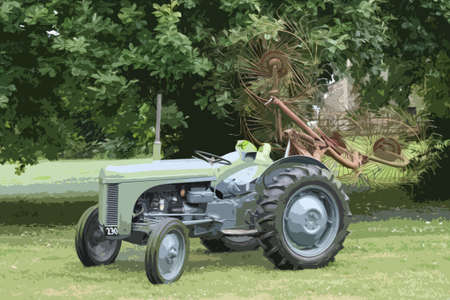 old tractor: oude vintage kleine grijze ferguson tractor landbouwmachines