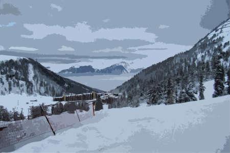 winter scene: winter alpine mountain scene under a blue sky
