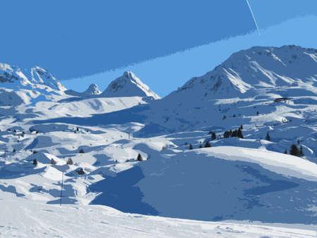 wintery snowy: winter alpine mountain scene under a blue sky