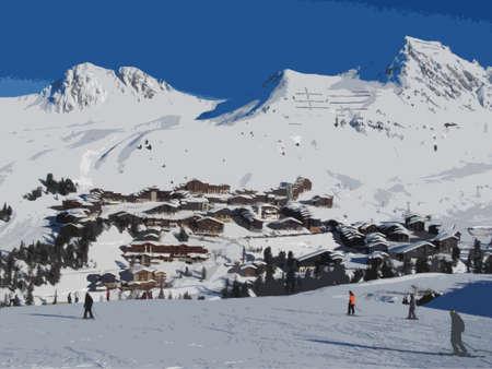 panorama of the ski resort village of la plagne Illustration