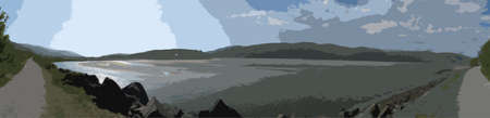estuary: Panorama of the Mawdach Trail running alongside the estuary