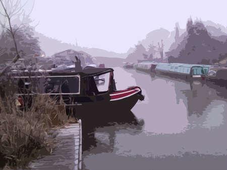 はしけ: 冬に凍結運河の運河ボート  イラスト・ベクター素材