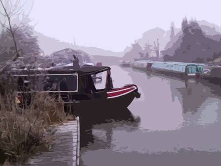 canal boat on a frozen canal in winter