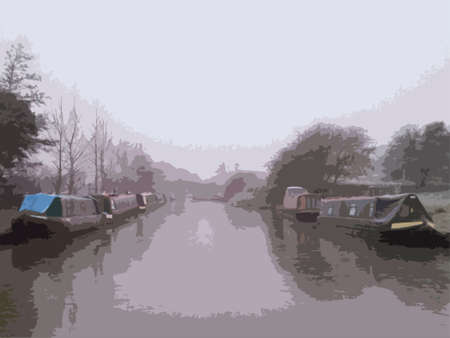 wintry weather: canal boats at the side of a frozen canal water in winter