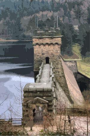 reservoir: derwent reservoir dam breakwater under a cloudy sky