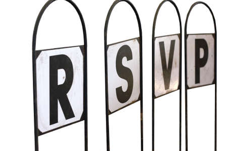 sil: signpost with letters spelling rsvp respondez s