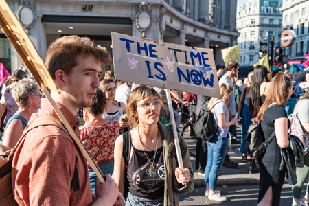 London, UK - April 19, 2019: Extinction Rebellion Protesters in Oxford Street