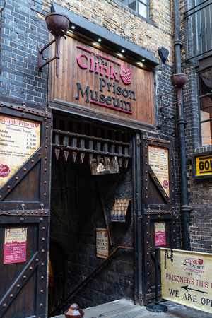 LONDON, UK - APRIL 1, 2019: Clink Prison Museum Entrance, Museum in London Editorial