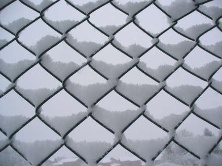 settled: snow settled balancing on a wire fence