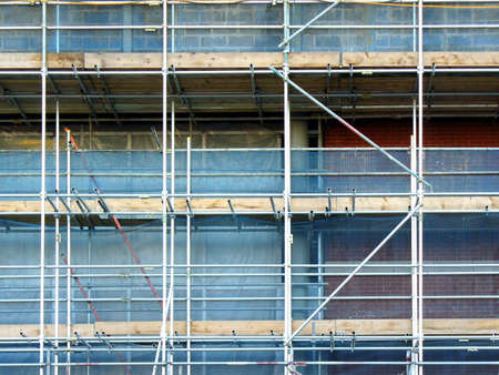 large building sites scaffolding with brick work photo