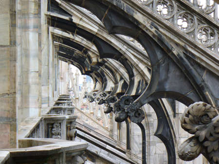 view through: view through area in the decorative roof of Duomo cathedral in Milan