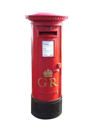 red post box: British red cut out postbox in england Stock Photo