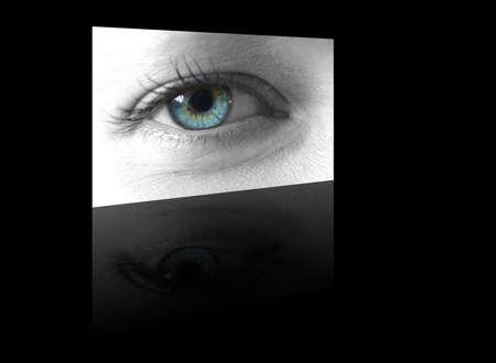 blue widescreen widescreen: ladies eye shown on a slick digital flat screen on a black reflective background