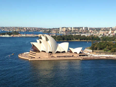 Sydney opera house as viewed from the Sydney harbour bridge.
