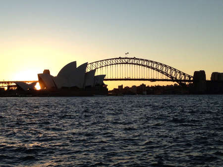 Shadow of the Sydney Opera House and Harbour Bridge Stock Photo