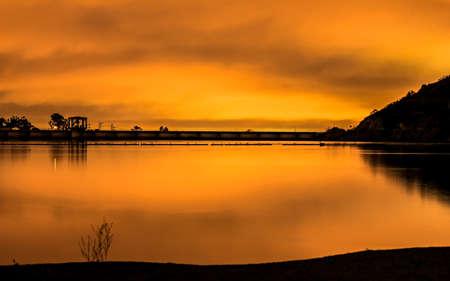 Post sunset Lake Murray Dam, La Mesa, CA