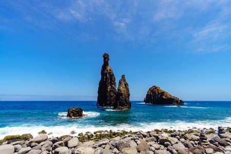 Pebble beach and rocky Islets of the Ribeira da Janela, Madeira island, Portugal