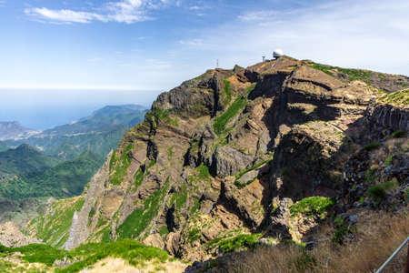 mountain radar station on madeira hiking Zdjęcie Seryjne