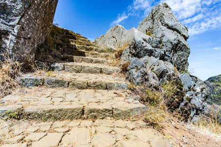 staircase sky clouds stone madeira