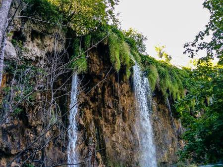 Waterfall plitvice rocks at summer Stock Photo