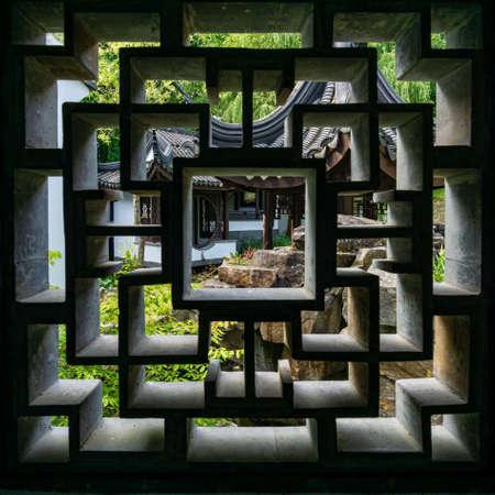 Chinese style pattern on wall panels at Suzhou garden