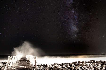ocean wave space star night