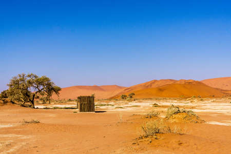 Desert sand dune cottage namibia Stock Photo