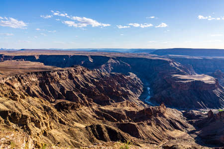 fishriver canyon in namibia national park sunset clouds sky at summer Imagens
