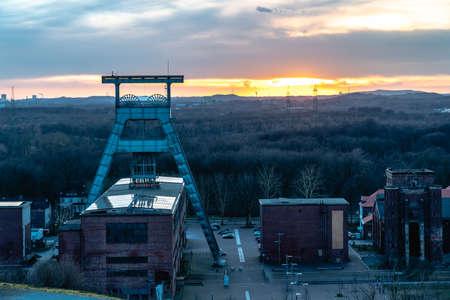 Mine shaft at sunset Standard-Bild