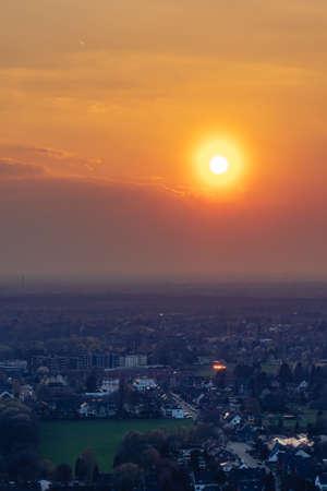 The city skyline of Essen under the sunset