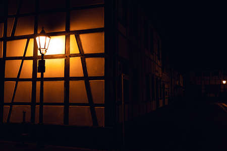 half-timbered house night lantern in herten germany